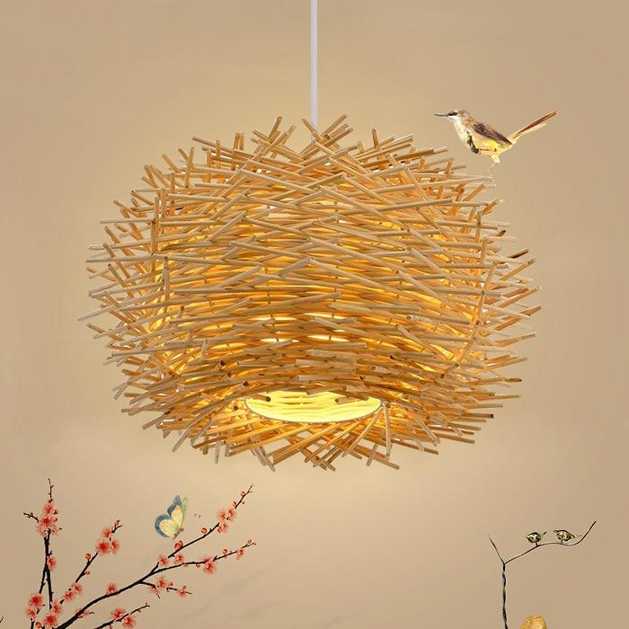 Creative Nest Pendant Light Wreck Hand Woven Bird Nest Suspension Light Indoor Decorative Bind Pendant Lamp for Restaurant Bar