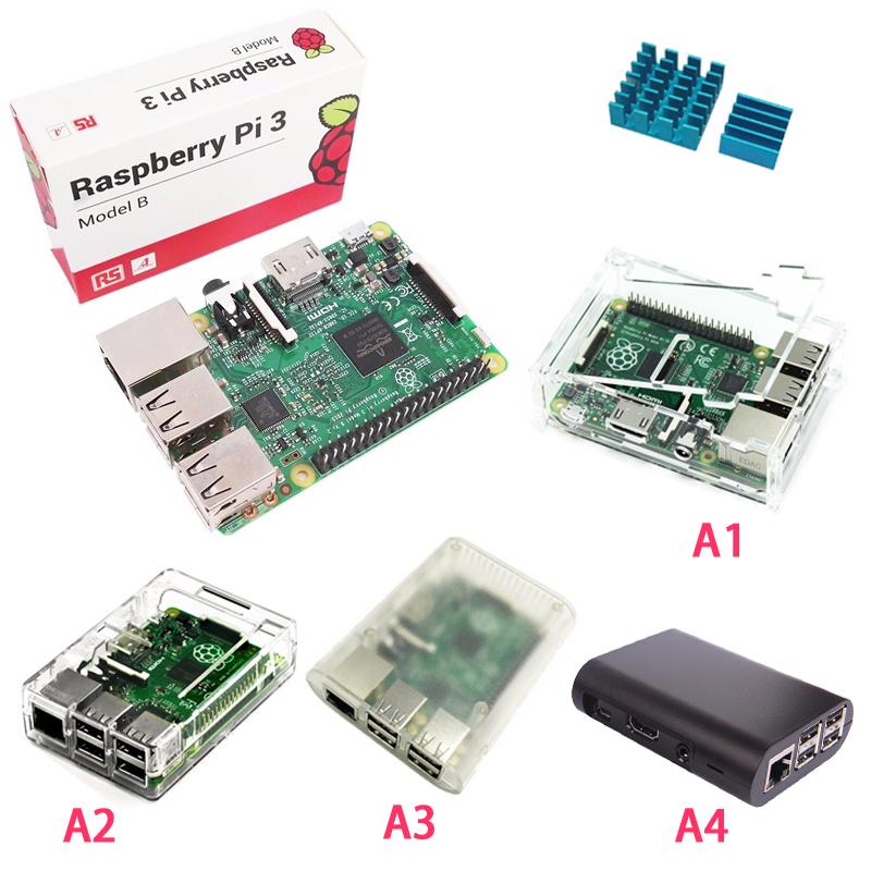 Prix pour RS Version Raspberry Pi 3 Modèle B + ABS Cas Acrylique Cas Clear Case + Aluminium Bleu Dissipateur de Chaleur pour RPI 3 avec Livraison gratuite