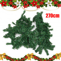 270cm Green Christmas Garland Party Decoration PVC Rattan Ornament Merry Christmas Rattan Cane Christmas Wreath for Home