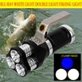 HUSUYUHU SISI ручной фонарь из алюминиевого сплава 15 Вт T6 синий свет три R2 двойной источник света сильный свет для зарядки рыбалки