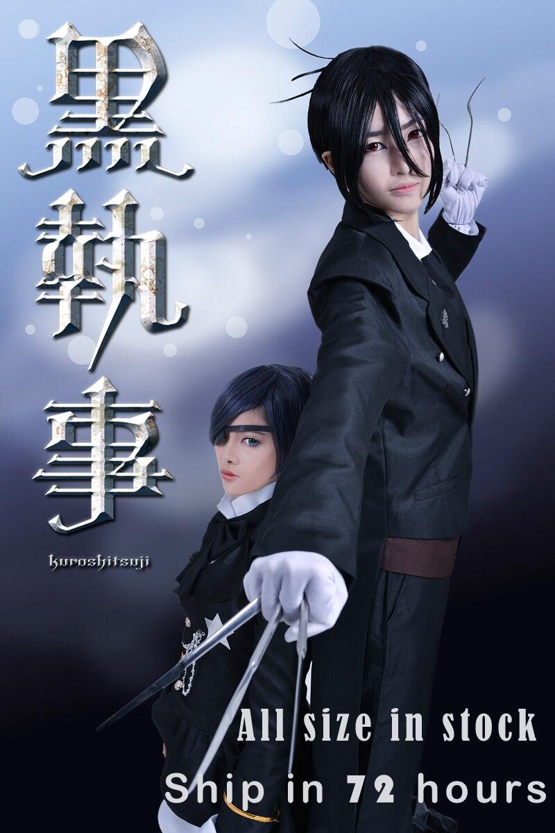 Free Shipping Black Butler Kuroshitsuji Sebastian Michaelis Tuxdo Uniform Anime Cosplay Costume