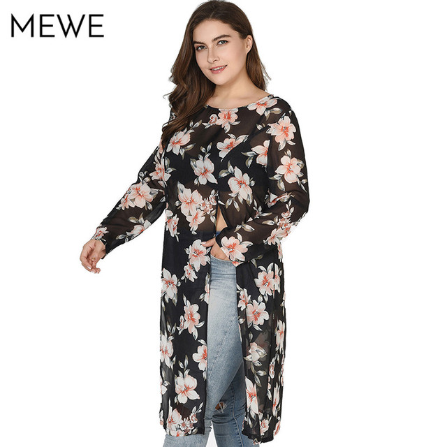 Dress Shirts Women Long Sleeve Black Floral Chiffon Boho Dress Plus