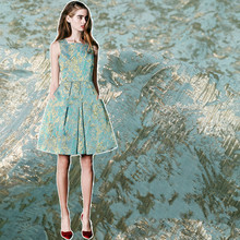 цена на Teal Blue Jacquard Fabric Shiny Fabric Brocade Fabric for Suit Dress  130cm Wide