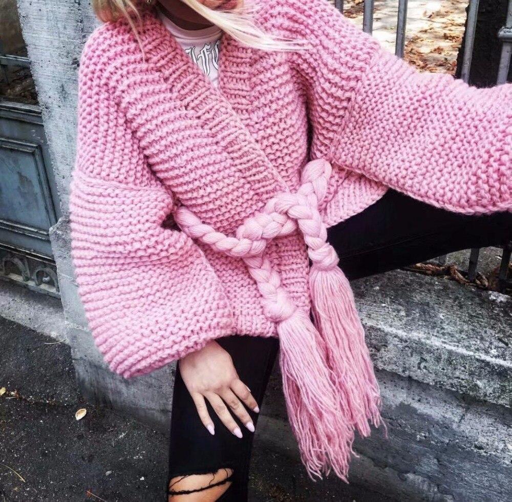 Lanterne Manches Jumper Bretelles Cardigans Automne Femmes 2018 Cardigan Tricoté Pull Paresseux Hiver Femelle pink Gland gray Khaki Cadigans 6qFY8gWWn0