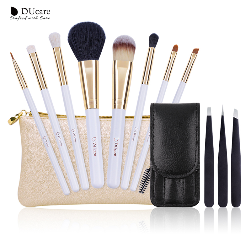 DUcare 8 PCS Brushes for Makeup and 3 PCS Eyebrow Tweezers Hair Removal Goat Hair Cosmetic Tools Kit ombre handle eyebrow tweezers