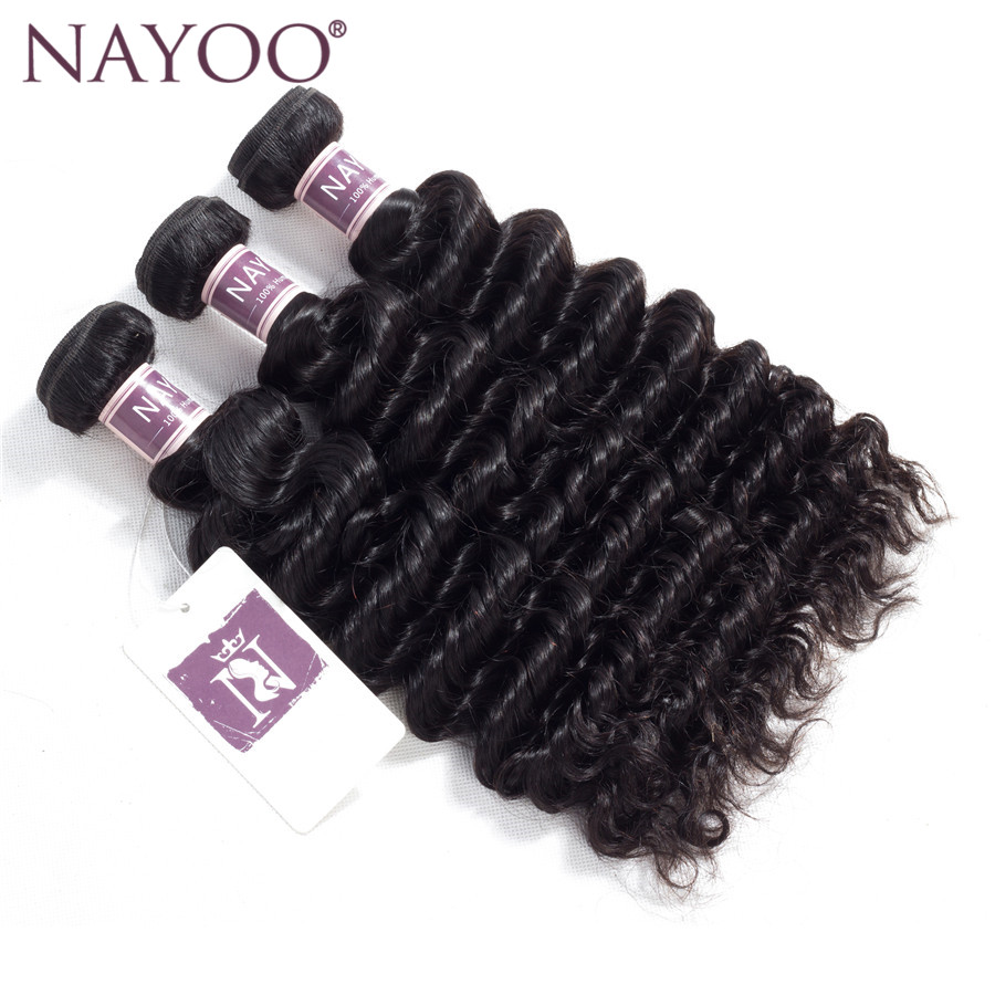 NAYOO Hair Deep Wave Mongolian Hair Bundles 8-26 inches Natural Color Non-Remy Human Hair Weaving Bundles
