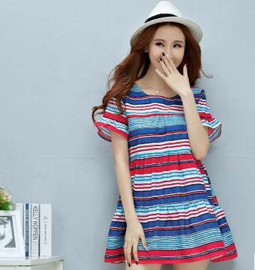 2017 Summer Striped Short sleeved Maternity Dress New arrival Pregnancy Clothing Vestidos Clothes for Pregnant Women SZ6437