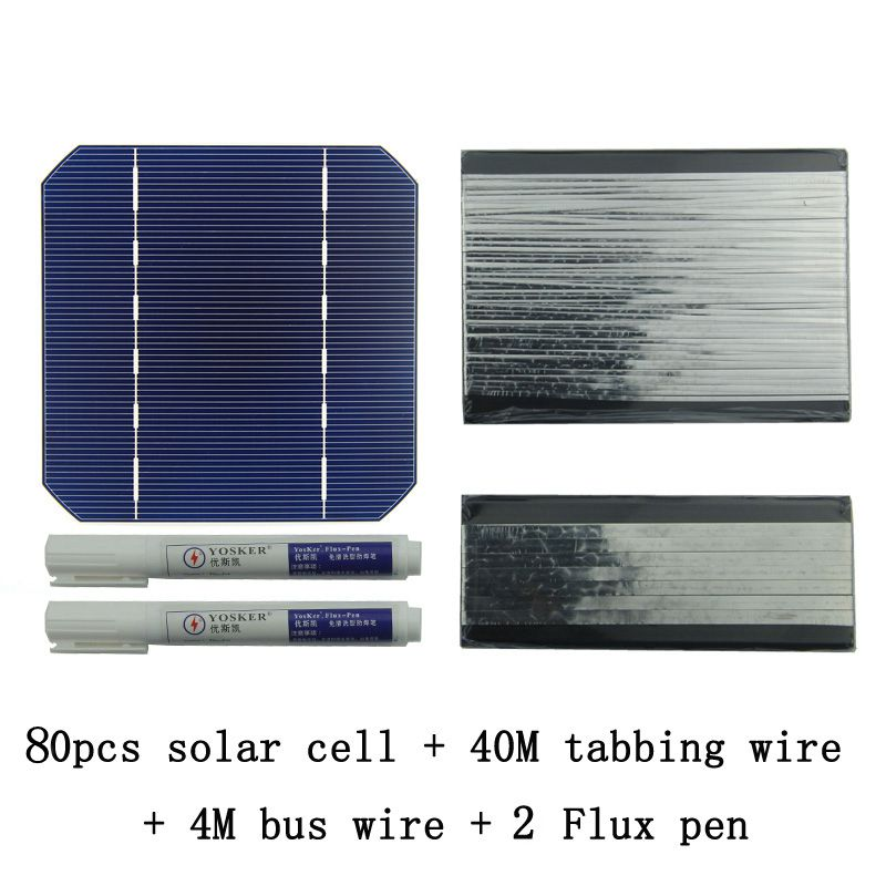 80Pcs Monocrystall Solar Cell 5x5 With 60M Tabbing Wire 6M Busbar Wire and 3Pcs Flux Pen diy solar panel 270w 100pcs monocrystall solar cell 5x5 with 60m tabbing wire 6m busbar wire and 3pcs flux pen