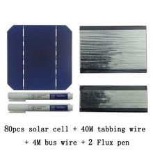 80Pcs Monocrystall Solar Cell 5×5 With 60M Tabbing Wire 6M Busbar Wire and 3Pcs Flux Pen