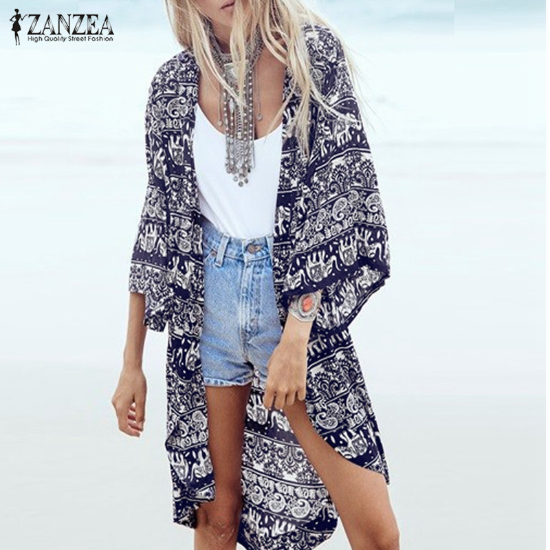 ZANZEA 2018 Dames Boho Kimono Vest Zomerblouse Bloemenprint 3/4 mouw Casual lang vintage shirt tops cover-up plus size
