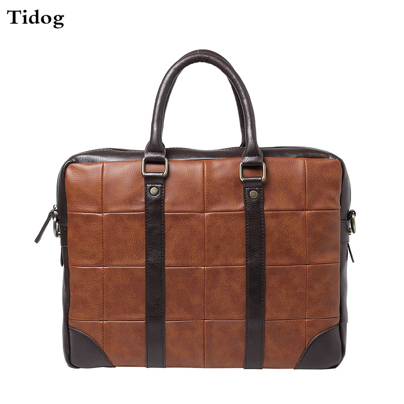 Tidog Korean male Bag Satchel Handbag leisure Vintage Computer Briefcase popular handbag women simple shoulder bag vintage hand bag retro korean style 3 classic color satchel bag leisure locomotive bag