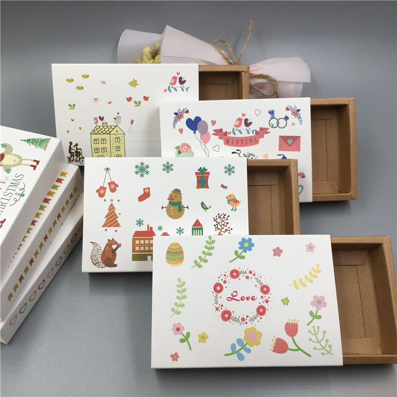Handmade Gifts Boxes Cardboard Drawer Candy-Box Kraft-Paper Matches Christmas Wedding-Party