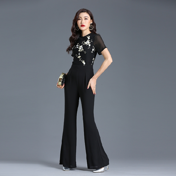 2019 Summer Jumpsuit for Women High Street Chiffon Floral Elegant Evening Party Black Boot Cut Rompers Plus Size 3XL 4XL