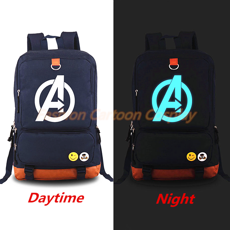 f7e89c577e47 The Avengers Logo Luminous Backpack Rucksack Large Capacity Travel Bags  Fashion Laptop Backpacks Student School bag Mochila-in Backpacks from  Luggage   Bags ...