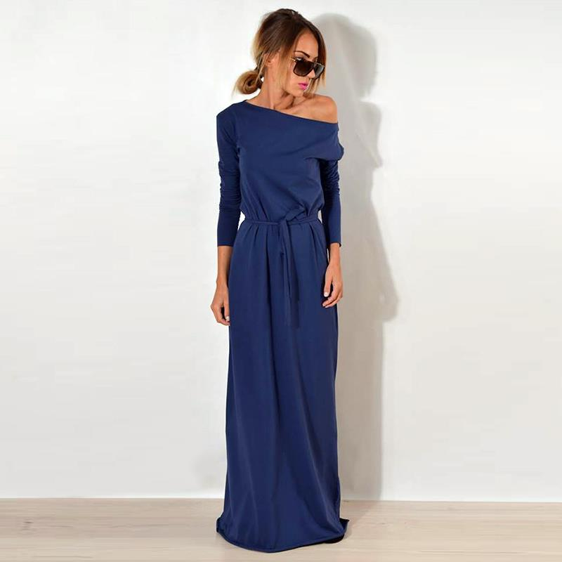Women Maxi Party Dress One Shoulder Long Sleeve Causal Robe Long Loose Dresses Femme Vestidos WS3744C