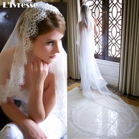 Simple White Ivory Tulle Wedding Veils One Layer Eyelash Lace Edge Long Bridal Veils Custom Made