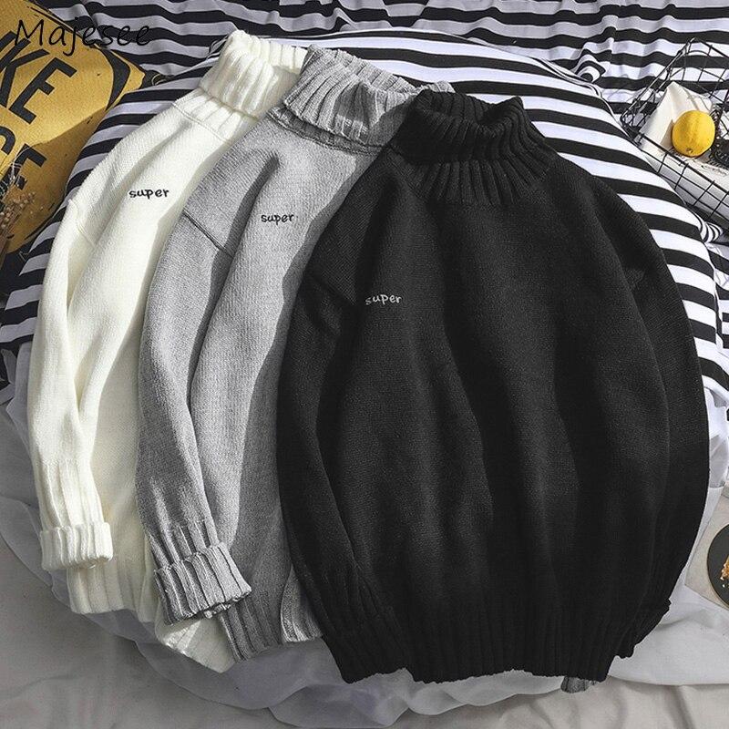 Camisolas Dos Homens de Todos Os Jogo de Gola Alta Simples Diariamente Macio Morno do Inverno Tricô Camisola Dos Homens do Estilo Coreano Harajuku Lazer Roupa Nova