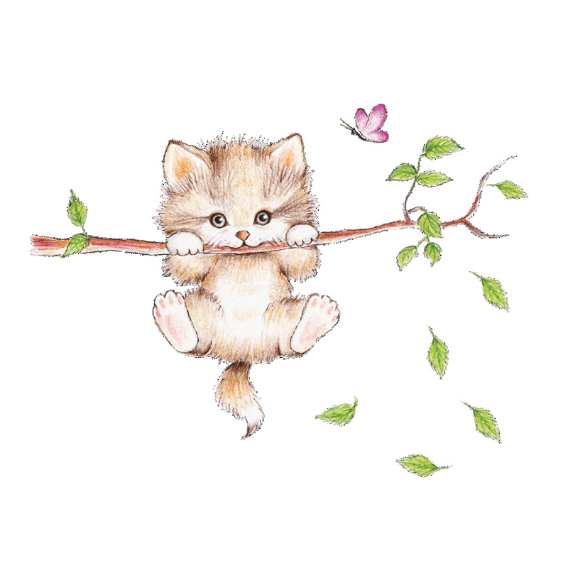 Lovely Cat hanging branches butterfly wall stickers for kids room Children Bedroom cute Animals Wall Decals Nursery Decor Mural 1