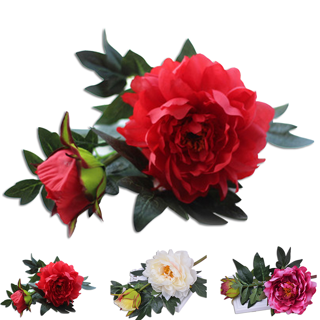 Artificial 2 Heads Silk Peony Flower For Wedding Party Office Hotel