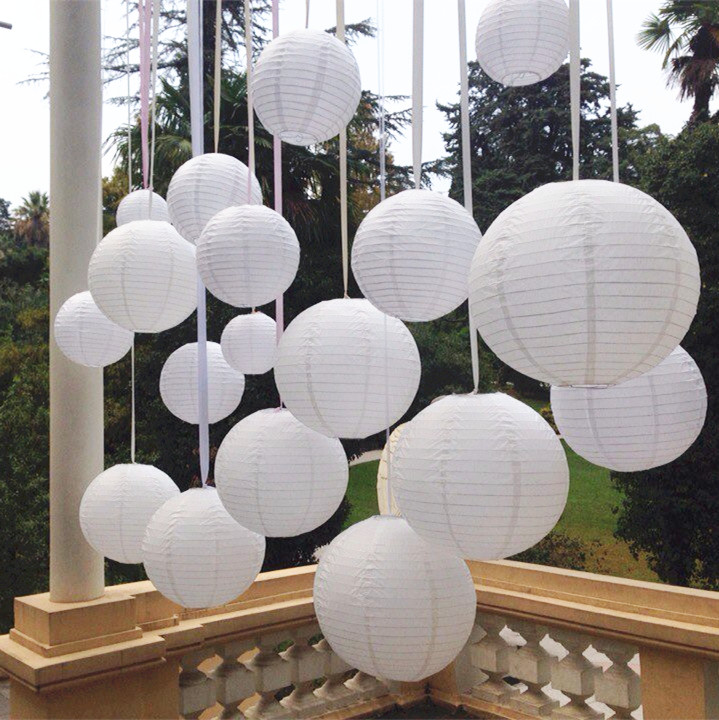 8 pulgadas 20 cm Linternas De Papel Blanco 9 unids/lote Lámparas de Decoración d