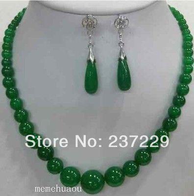 e7b6511ea2c7 Precio al por mayor envío gratis   pretty real naturaleza piedra verde  collar pendiente conjunto