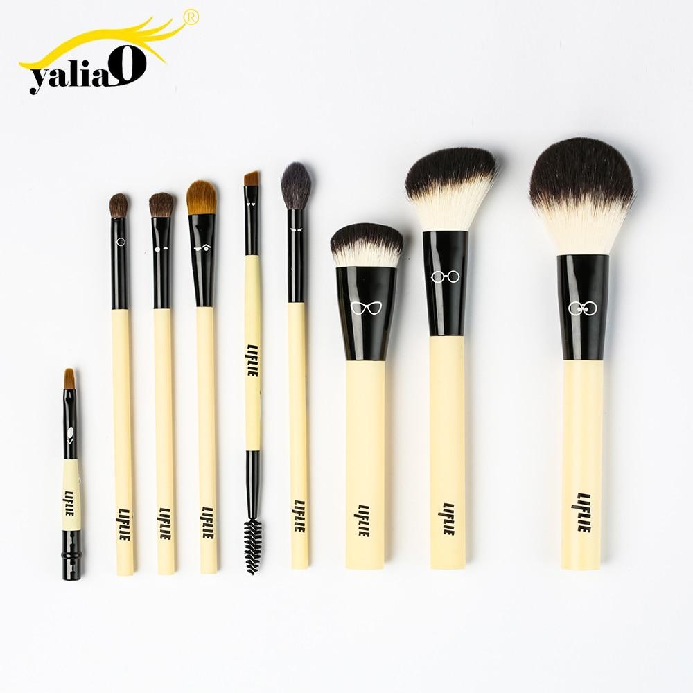 Makeup Brushes 9 Pcs Brush Set Premium Synthetic Bristle Imitation wool fiber brushes Eye Shadows Foundation