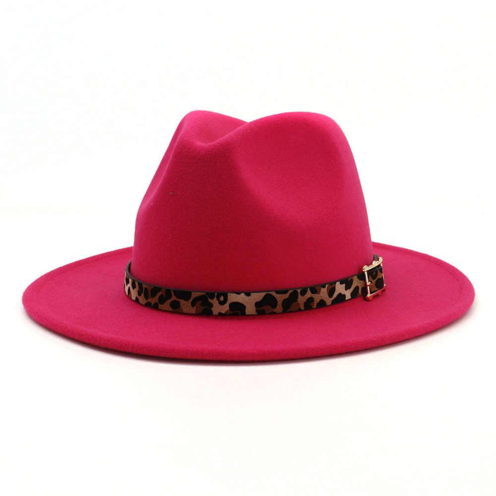2d39bfd66 Unisex Leopard Jazz Fedora Hat Men Women Plain Wool Felt Hats Flat ...