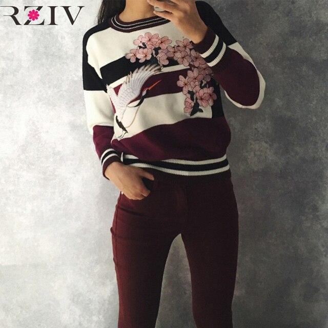 Rziv 2016 patchwork camisola flor do guindaste bordado casual camisola das mulheres