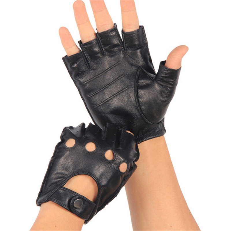 High Quality Genuine Leather Semi-Finger Gloves Male Thin Non-Slip Breathable Driving Goatskin Half Fingers Men Mittens NAN7-2