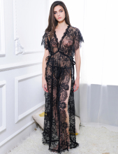 цена на Yhotmeng sexy women's retro transparent blouse black lace print long straps nightdress set with underwear