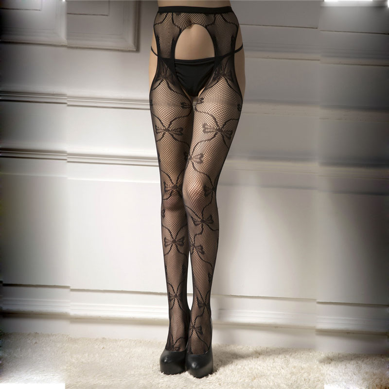 BenXi Lace Print Hollow out Sexy Pantyhose Female Mesh Stockings Open Crotch Women Fishnet Tights Stocking