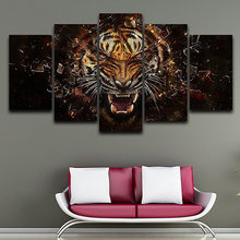 Home Decor Living Room Canvas HD Print Painting 5 Piece Wild Animal Tiger Frame Wall Art Poster Modern Modular Pictures(China)