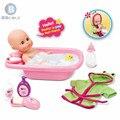BDCOLE 33 cm de Super Combinação de Silicone Boneca Jogo de Banho Do Bebê Recém-nascido Conjunto de Pacotes de Roupas de Desenhos Animados Bonito Banheira & Acessórios de Banho