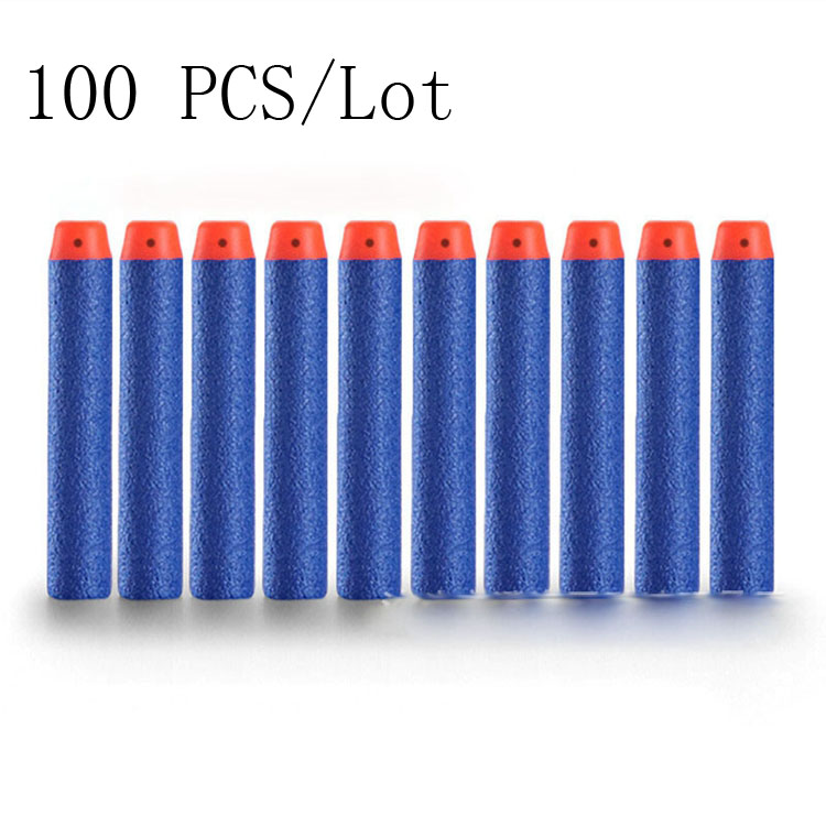 100pcs/Lot Hollow EVA Foam Soft Air Gun Bullets 100pcs 7.2cm For N-strike Elite Series Blaster Toy Gun Refill Darts Toys Bullets