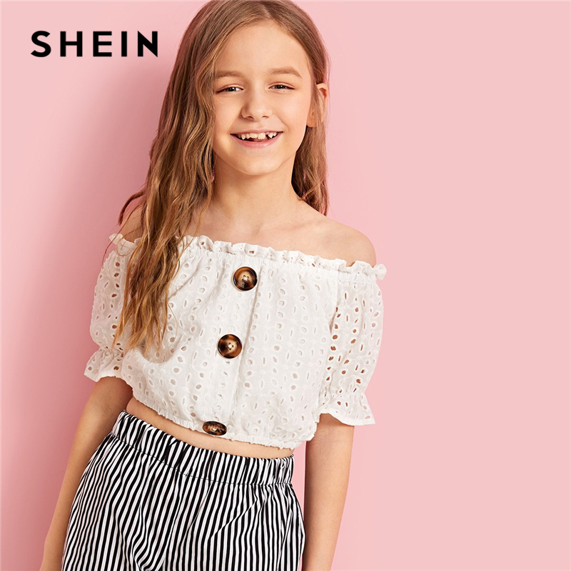SHEIN Kiddie White Button Detail Embroidered Eyelet Bardot Korean Tops For Girls 2019 Summer Short Sleeve Schiffy Girls Blouses eyelet lace up detail denim jacket