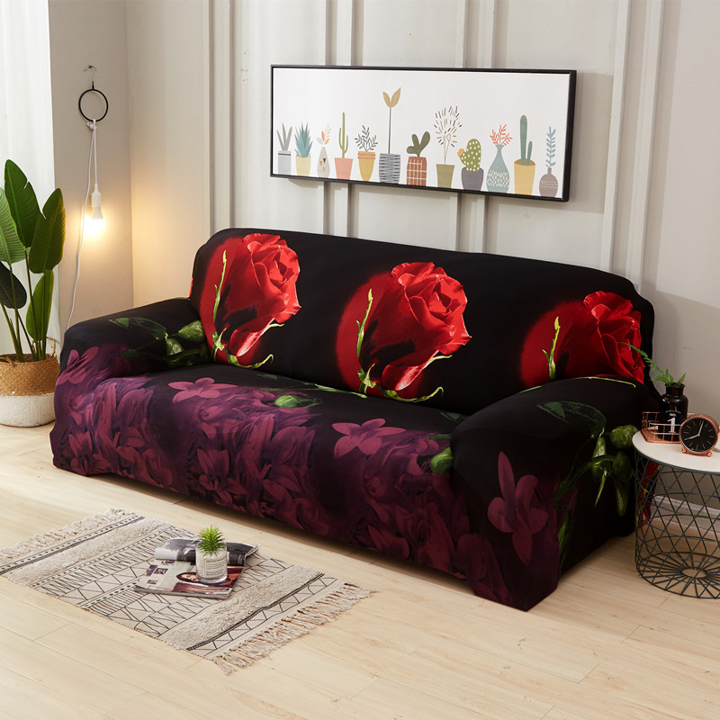 Stretchable Sofa Cover with Elastic for Sectional Couch Protects Sofa from Stains Damage and Dust 16