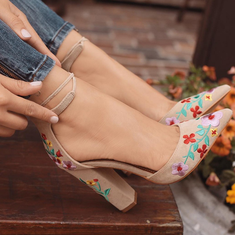 YOUYEDIAN High Heels Suede Shoes Woman Sandals Wildflower Embroidery 2019 With Crude Pointed Toe Shoes Sandalias Zapatos#3