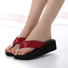 2018 Summer Fashion Women's Slippers Sequins Anti-Slip Wedge Sandals Indoor Outdoor Thong Mid Heels Platform Slippers Flip-flops