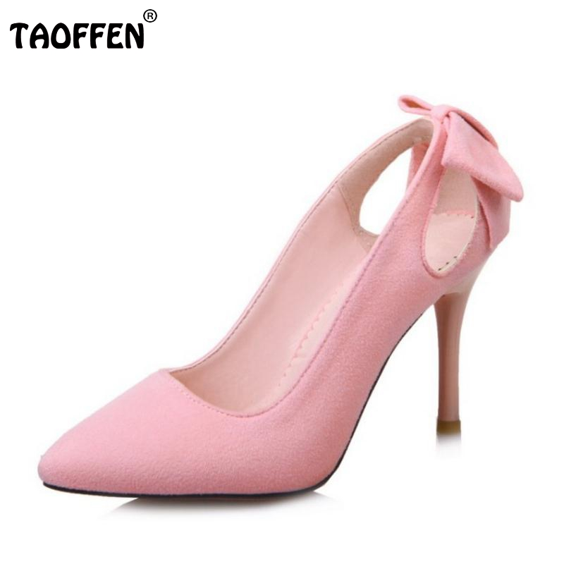 TAOFFEN Size 32-43 New Spring Women Pumps Elegant Fashion Bowtie High Heels Slip On Shoes Sexy Fretwork Pointed Toe Ladies Shoes platform pumps fashion 2015 new shoes pumps pointed toe women pumps bowtie party slip on spool heels size 34 43