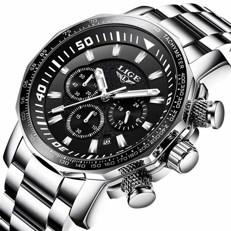 LIGE Fashion Sports Mens Watches Top Brand Luxury Stainless Steel Quartz Watch Men Business Waterproof Watch Relogio Masculino a500g mens watches top brand luxury tvg brand men business casual watch stainless steel strap quartz watch fashion sports watche
