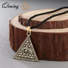QIMING Vintage Men Necklace Women Egyptian Egypt Pyramid All-Seeing Evil Eye Illuminati Silver Charm Pendant Necklaces(Hong Kong,China)