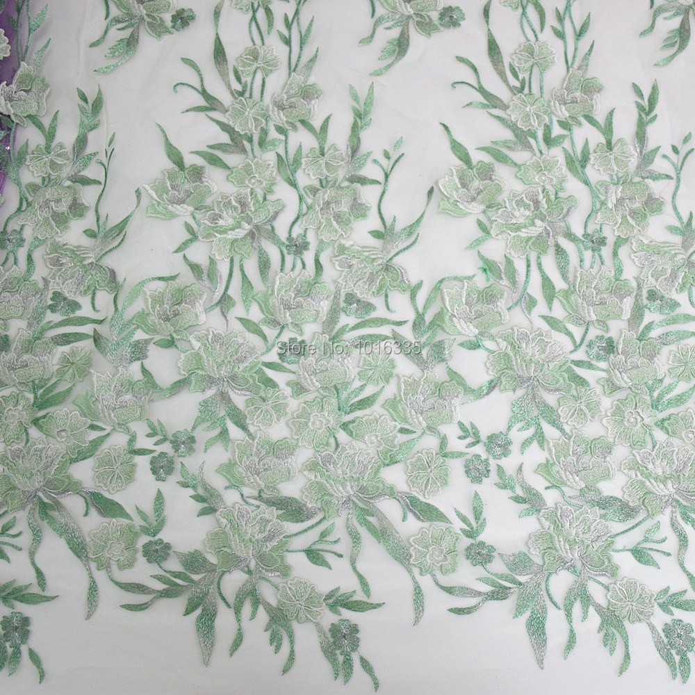 New fashion high quanlity green florals Embroidered on netting wedding/brides/evening dress lace fabric