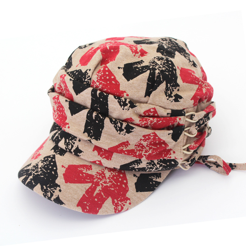Fashion Cap Wrinkled Knit Hooded Hat New Winter Warm Couple Print Pattern
