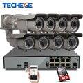 Kits de vigilância de segurança 8ch 4 k h.265 techege 48 v poe nvr 4mp 2.8-12mm lente zoom Da Câmera IP POE Sistema P2P Nuvem cctv sistema