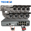 Kits de vigilancia de seguridad 8ch 4 k h.265 techege 48 v poe nvr 4mp 2.8-12mm zoom Cámara IP POE Sistema P2P Nube cctv sistema