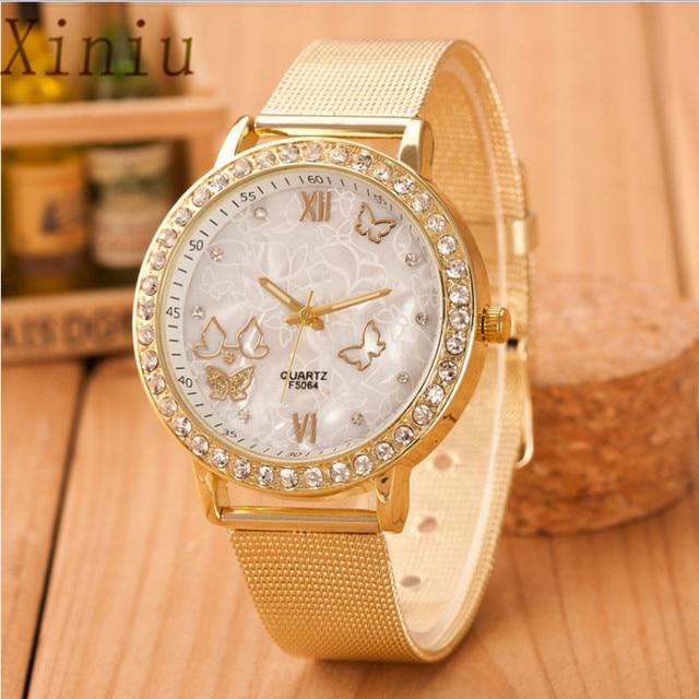 Women Watches Crystal Butterfly Gold Stainless Steel Mesh Wrist Ladies Watch Bra
