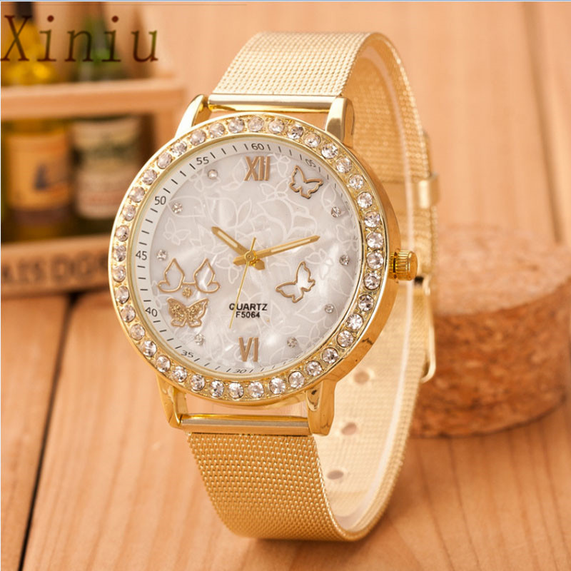 Women Watches Crystal Butterfly Gold Stainless Steel Mesh Wrist Ladies Watch Diamond Wristwatch Clock Relogio Feminino|Women's Watches| |  - title=