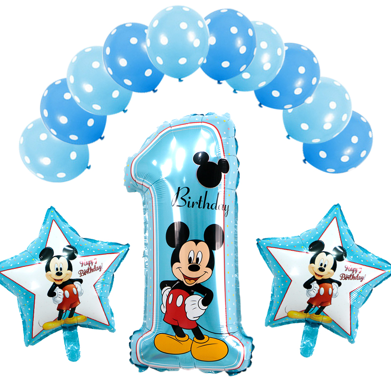 13pcs/lot Happy Birthday Number 1 Helium Foil Balloons Boy