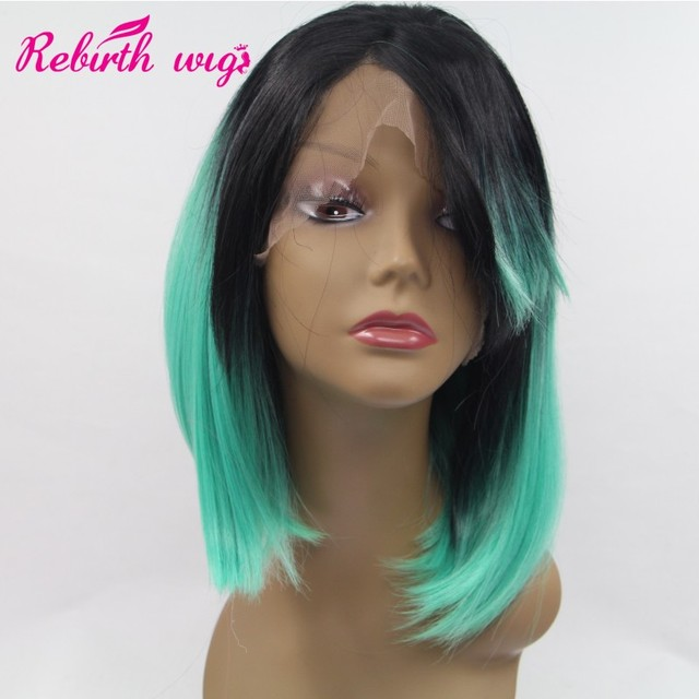 African American Celebrity Wigs Medium Long Bob Hairstyle Ombre Dark
