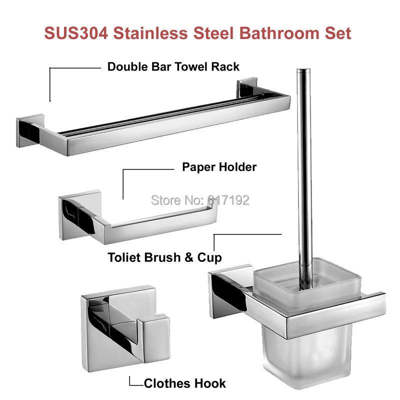 lucidato a specchio in acciaio inox aisi accessori bagno set di asciugamani bar portarotolo di carta
